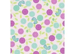 粉色背景粉色花朵绿色花朵图案