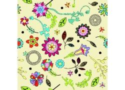 黄色背景下的手绘花朵