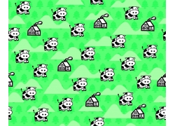 绿色背景奶牛房屋图案