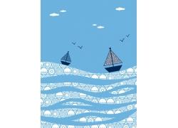 蓝色背景圆环帆船大雁波浪图案