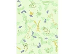 淡绿色背景小熊叶子小白兔大象图案