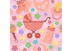 粉色背景奶瓶星星婴儿车奶嘴图案