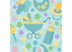 蓝色背景蓝色婴儿车奶瓶奶嘴围兜图案