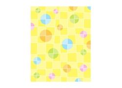 黄色格子背景彩色圆形图案