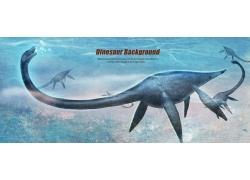 海底的卡通恐龙图片