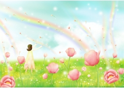 卡通女孩与鲜花图片