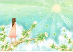 站在树枝享受阳光的小女孩图片