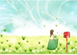 往邮箱寄绿叶的小女孩图片