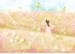漫天飞舞的蝴蝶和花丛小女孩图片