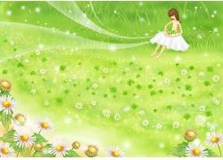 卡通女孩与鲜花风景图片