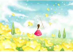 卡通鲜花与卡通女孩图片