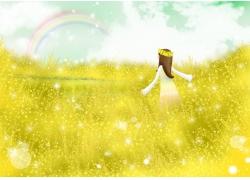 彩虹与卡通女孩图片