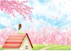 浪漫樱花下坐在屋顶的小女孩图片