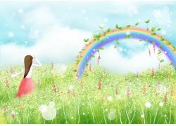 彩虹风景与卡通女孩图片