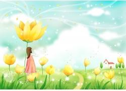 鲜花下的卡通女孩图片