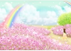 花朵女孩背景素材图片