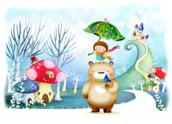 磨菇旁站在小熊头的小女孩图片