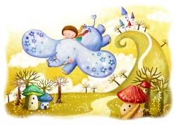 大象上的小女孩在森林中飞行图片