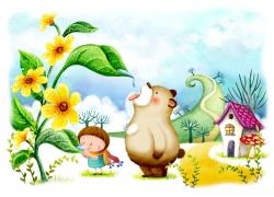 吃叶子晨露的小女孩和小熊图片
