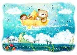 大海里坐在纸船上的小熊和小女孩图片