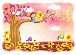 坐在树上的小女孩和花朵图片