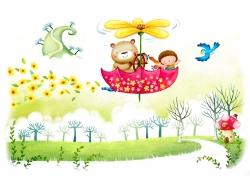 坐在花朵雨伞的小熊和小女孩图片