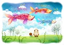 草地上的小熊和小女孩空中的鱼图片
