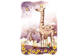 小女孩搭楼梯看长颈鹿图片