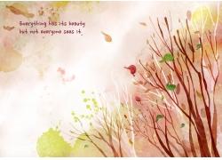 秋季树木落叶图片