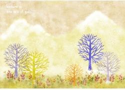 水彩树木和草地图片