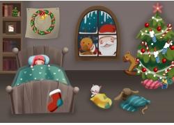睡觉的卡通女孩和圣诞老人图片