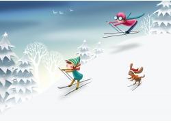 滑雪板的卡通女孩图片