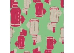 绿色背景卡通奶瓶小孩图案