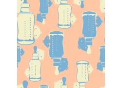 黄色背景卡通奶瓶和小男孩图案