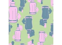 草绿色背景卡通奶瓶和小男孩图案