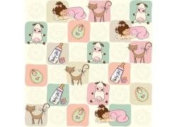 卡通儿童动物背景图片