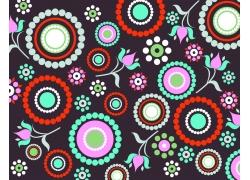 黑色背景圆形花朵图案