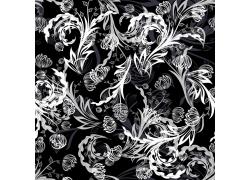 黑色背景植物花纹图案