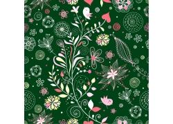 绿色背景下的手绘花朵