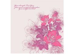 美丽的粉色手绘花朵