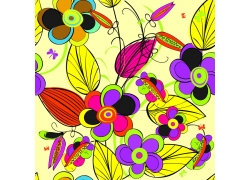 黄色背景下的彩色手绘花