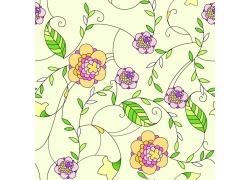 淡黄色背景花朵与绿叶