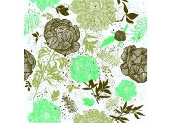 水墨绿色花朵素材