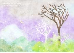 水彩树木风景图片