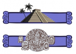 蓝色边框上的金字塔和埃及浮雕矢量图