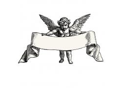 素描天使飘带标签