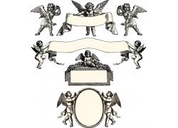 素描天使图案边框标签标识