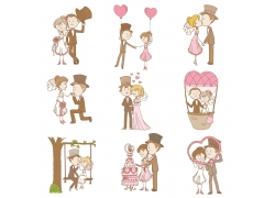 卡通新婚夫妇
