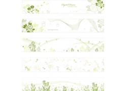 绿色手绘花朵背景