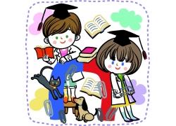 戴着博士帽的卡通人物和课本图片